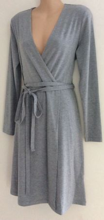 M&S LADIES GREY WRAP JERSEY BELTED NURSING DRESS SIZE 6